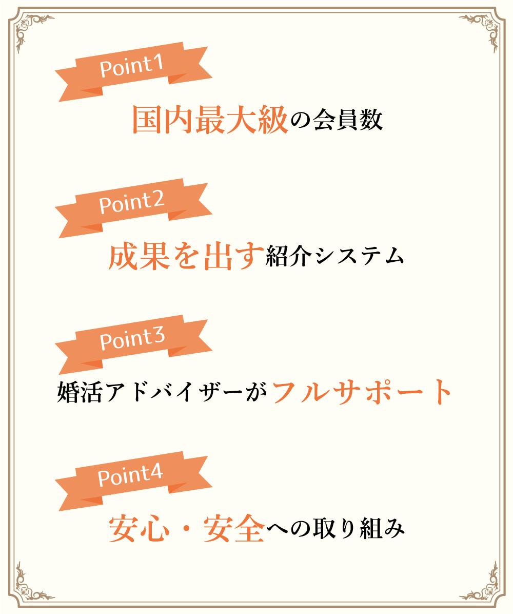 Point1 国内最大級の会員数 Point2 成果を出す紹介システム Point3 婚活アドバイザーがフルサポート Point4 安心・安全への取り組み